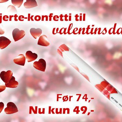 Konfettirør, røde metalliske hjerter - Perfekt til valentinsdag!