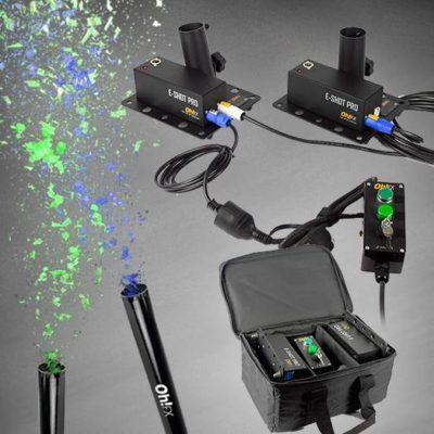 Oh!FX E-Shot Pro On Tour Set affyring, 2 maskiner, taske, knap og 20 konfettirør
