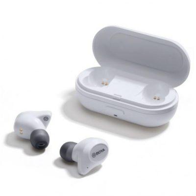 Boya BY-AP1 True Wireless Bluetooth earbuds, 6 timers spilletid, AAC HD audio, hvid