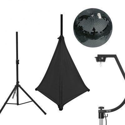 EUROLITE Set Mirror ball 30cm black with stand and tripod cover black