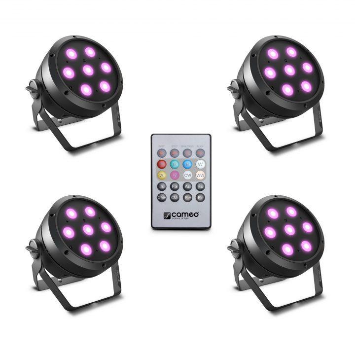 Cameo ROOT PAR 4 SET 1 Set Including 4 x CLROOTPAR4 Incl. IR Remote Control (CLPFLAT1REMOTE)