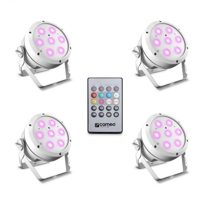 Cameo ROOT PAR 4 WH SET 1 Set Including 4 x CLROOTPAR4WH Incl. IR Remote Control (CLPFLAT1REMOTE)