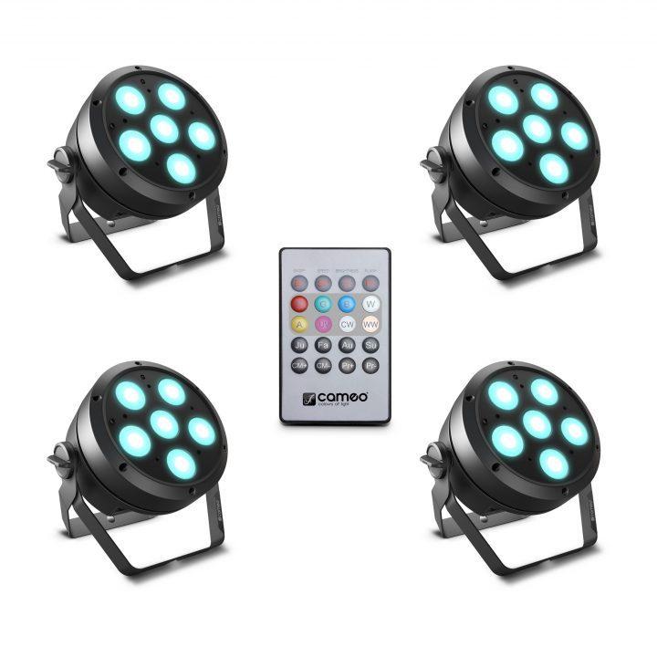 Cameo ROOT PAR 6 SET 1 Set Including 4 x CLROOTPAR6 Incl. IR Remote Control (CLPFLAT1REMOTE)