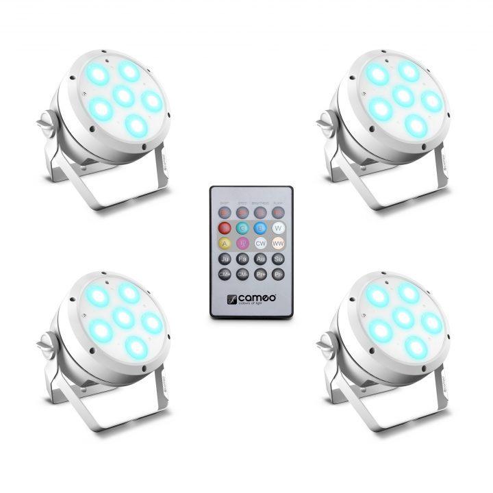 Cameo ROOT PAR 6 WH SET 1 Set Including 4 x CLROOTPAR6WH Incl. IR Remote Control (CLPFLAT1REMOTE)